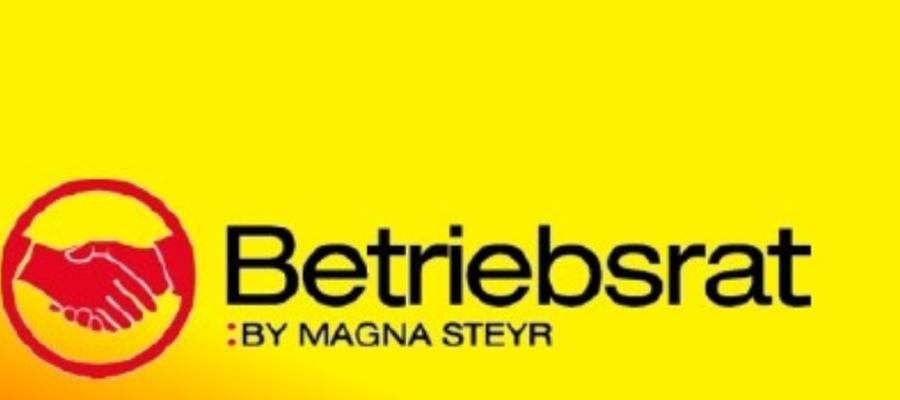 Logo Betriebsrat Magna Steyr auf gelbem Hintergrund