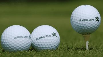 """Logo-Golfbälle mit Aufschrift """"Murhofgruppe"""""""